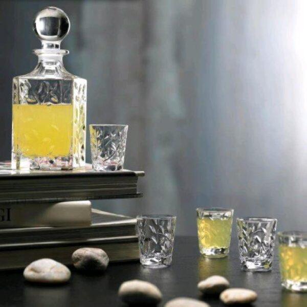 58172 RCR 7 Pezzi Set Bottiglia Whisky 55 cl con Tappo + 6 Bicchieri Liquore 6 cl LAURUS
