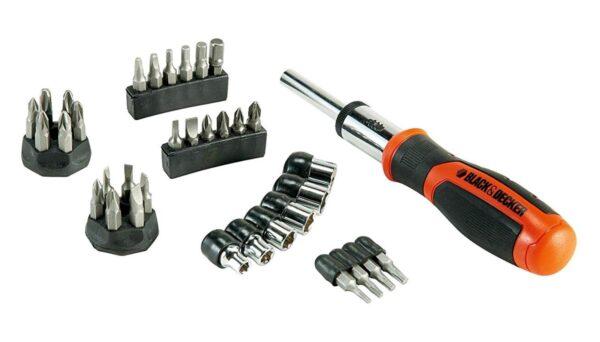Black & Decker Black & Decker Kit Giravite a Cricchetto con 29 inserti  - BDHT0-62130