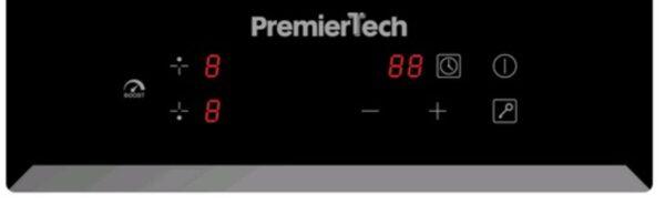 PremierTech® PT-PC2I PremierTech Piano Cottura Induzione 30cm 2 Fuochi da incasso Funzione Boost Touch Control Display Led Vetro Front Edge