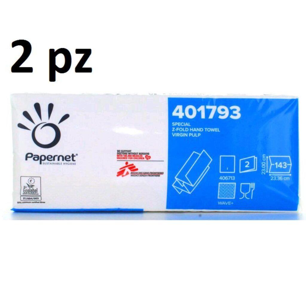 """2 pz - PAPERNET ASCIUGAMANI PIEGATI A """"Z"""" INTERFOGLIATI .143 PZ"""